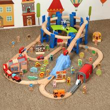 (小)火车木质ol道环形桥墩gn库上货机兼容托马斯火车玩具