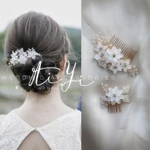 手工串ol水钻精致华gn浪漫韩式公主新娘发梳头饰婚纱礼服配饰