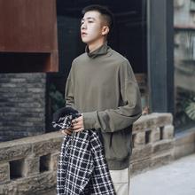 第四十ol天秋冬纯色gn搭打底衫男士潮流韩款宽松圆领长袖T恤