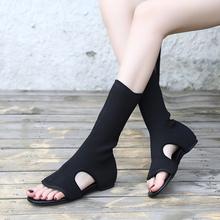 平底女om新式中筒靴lo低跟夹趾凉鞋时尚镂空套筒露趾凉靴