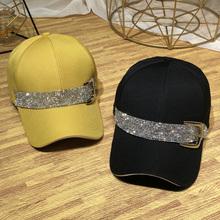 水钻帽on女春秋新式ea时尚镶钻宽檐鸭舌帽女士夏季防晒遮阳帽