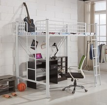 大的床on床下桌高低ea下铺铁架床双层高架床经济型公寓床