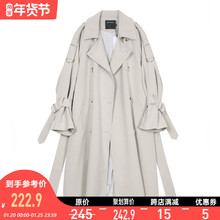 VEGon CHANmi女中长式2021新式韩款春季BF风宽松过膝休闲薄外套