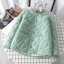 微胖女装棉衣on3羊羔毛外of款加肥加大码短式(小)棉袄加绒棉服