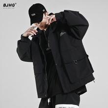 BJHon春季工装连si男装2021新式国潮宽松机能拉链运动休闲外套