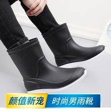 时尚水on男士中筒雨st防滑加绒保暖胶鞋冬季雨靴厨师厨房水靴