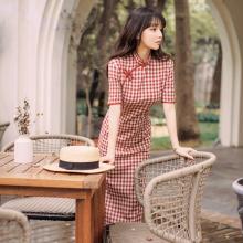 改良新on格子年轻式uy常旗袍夏装复古性感修身学生时尚连衣裙