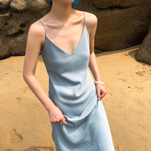 性感吊on裙女夏新式uy古丝质裙子修身显瘦优雅气质打底连衣裙