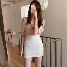 白色包on女短式春夏in021新式a字半身裙紧身包臀裙性感短裙潮