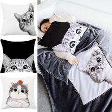 卡通猫on抱枕被子两in室午睡汽车车载抱枕毯珊瑚绒加厚冬季