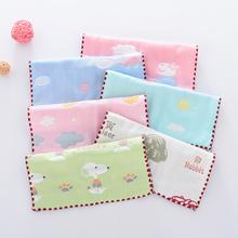 婴儿纱on六层宝宝纯in新生儿洗脸巾手帕(小)方巾3-5条装