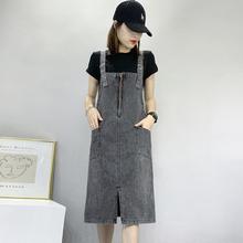 2021夏季新款中�L款牛仔背��裙女大on15�B衣裙ed裙��松�@瘦