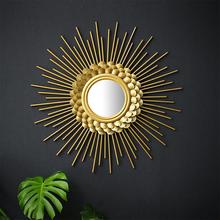北欧墙on挂件装饰品se奢墙面镜子铁艺背景墙壁上玄关太阳创意