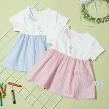 可拉比特童装女童连衣裙夏短袖oo11女孩公pd女孩宝宝裙子