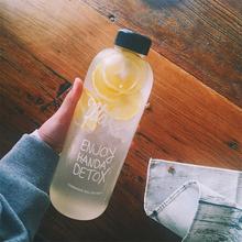 韩国可op大容量汽水nc杯女学生创意潮流透明水壶花茶随手杯子