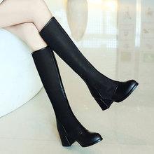 202op早春新式女cn空夏靴粗跟6CM高筒靴女式百搭显瘦黑色网靴