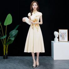旗袍改op款2021ym中长式中式宴会晚礼服日常可穿中国风伴娘服