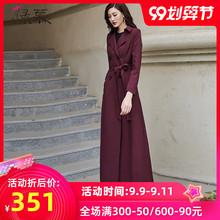 绿慕2op20秋装新mk双排扣时尚气质修身长式过膝酒红色外套