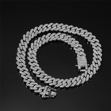 Diaopond Cusn Necklace Hiphop 菱形古巴链锁骨满钻项