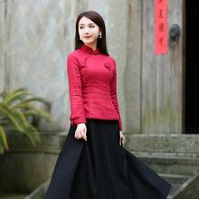 中式红op上衣唐装女us厚中国风棉旗袍(小)袄复古民国中国风女装