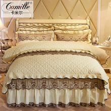 欧式夹op蕾丝床裙四us上用品1.5m1.8米4件套加厚床罩双的被套