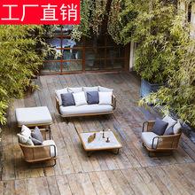 北欧户op沙发编藤桌va组合别墅庭院休闲家具懒的(小)户型藤沙发