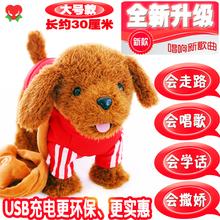 宝宝玩or狗走路会唱zi话可充电电动牵绳毛绒仿真电子泰迪(小)狗