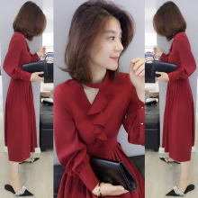 欧洲站or装2021ds货红色雪纺中长式气质高腰长袖连衣裙子女