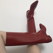 202os新式欧美英so链平跟高筒靴复古韩款骑士不过膝直筒靴
