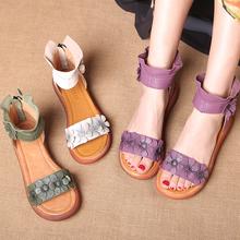 民族风女鞋 夏季松糕女凉鞋 真ot12中跟休is朵凉靴 罗马鞋