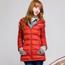 龙狮戴ot2020年is15421585秋冬户外中长式修身女轻量羽绒服