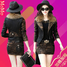 皮衣(小)ou装外套女短en秋冬装真皮皮草毛领加棉加厚夹克套装裙