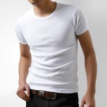 男士韩ou健身T恤男ol短袖圆领大码体恤纯棉白色半袖打底衣服