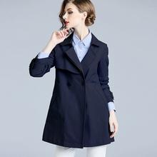 香衣丽ou2021春ui女装藏青色修身显瘦(小)个子短式外套风衣女