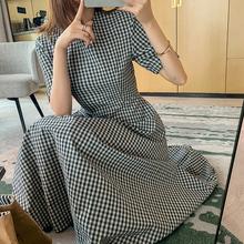 哈琳莉ou短袖格子收pb中长式气连衣裙子2020年夏季新式韩款女