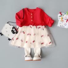 童装新ou婴儿连衣裙pb裙子春装0-1-2-3岁女童新年公主裙春秋4