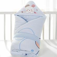 婴儿抱ou新生儿纯棉ki冬初生宝宝用品加厚保暖被子包巾可脱胆