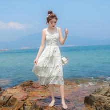 202ou夏季新式雪we连衣裙仙女裙(小)清新甜美波点蛋糕裙背心长裙