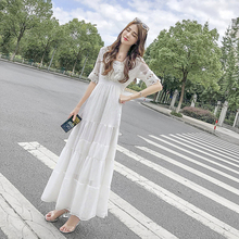 雪纺连ou裙女夏季2we新式冷淡风收腰显瘦超仙长裙蕾丝拼接蛋糕裙