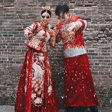 新郎接ou服敬酒服结mi服情侣装新式男士龙凤褂中式礼服秀和服
