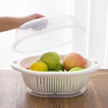 日式创ou厨房双层洗mi水篮塑料大号带盖菜篮子家用客厅