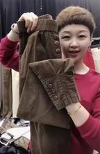 202ou秋季新式网lo裤子女显瘦女裤高腰哈伦裤纽扣束脚裤(小)脚裤