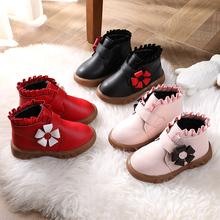 女宝宝ou-3岁雪地lo20冬季新式女童公主低筒短靴女孩加绒二棉鞋