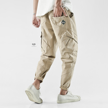 BJHou欧美街头宽da立体剪裁多口袋休闲工装裤潮男哈伦裤(小)脚裤