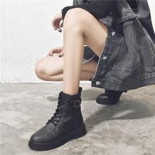 马丁靴ov伦风显脚(小)br女春秋薄式2020年新式百搭网红ins潮鞋