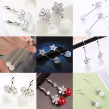 s92ov纯银猫眼耳br气质韩国水晶网红耳环时尚百搭珍珠简约耳钉