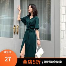 (小)虫不ov高端大码女rt妹妹mm夏季气质显瘦连衣裙法式长裙