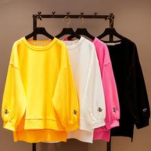 秋装新式韩款ov3松中长式rt女学生纯色圆领女上衣刺绣蝙蝠衫