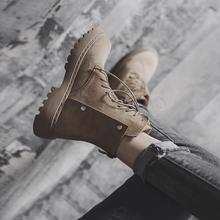 平底马ow靴女秋冬季bj1新式英伦风粗跟加绒短靴百搭帅气黑色女靴