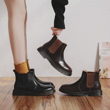 伯爵猫ow冬切尔西短ow底真皮马丁靴英伦风女鞋加绒短筒靴子
